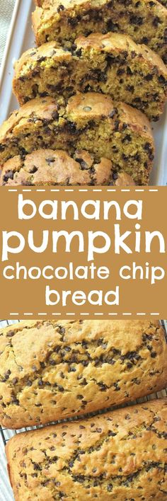 Banana pumpkin chocolate chip bread is a must-make! Sweet bananas, pumpkin, lots of chocolate, and it bakes up to perfection. This quick bread is a must-make for Fall. (make chocolate chip cookies) Oreo Dessert, Pumpkin Dessert, Köstliche Desserts, Delicious Desserts, Dessert Recipes, Yummy Food, Pumpkin Chocolate Chip Bread, Pumpkin Bread, Pumpkin Spice