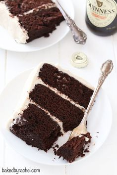 Moist Guinness chocolate layer cake with creamy brown sugar cinnamon cream cheese frosting recipe from /bakedbyrachel/ Best Chocolate Desserts, Fun Desserts, Delicious Desserts, Cupcake Recipes, Baking Recipes, Dessert Recipes, Irish Recipes, Sweet Recipes, Cupcakes
