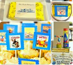 (Vintage) Golden Books  This book baby shower centers around those classic Golden Books — made complete with vintage toys, vintage candy, and plenty of books.   See more photos and ideas from this party (including free printables) from Aesthetic Nest. (Disney Baby)
