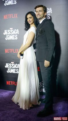 Krysten Ritter and David Tennant at the Marvel's Jessica Jones NYC Premiere