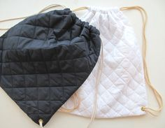 Quilted puffy bag cinch sack drawstrings backpack bag