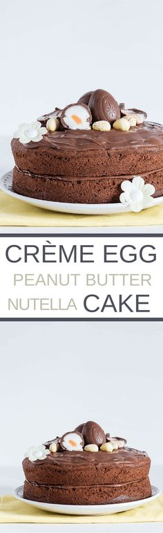 Cadbury Creme Egg Peanut Butter And Nutella Cake | recipesfromapantry.com {dessert. easter recipe, baking, sweet, chocolate}