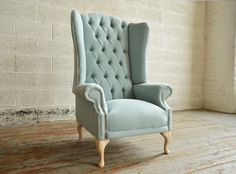 Bespoke Pistachio blue, deep buttoned high back Chesterfield Wing Chair | Abode Sofas