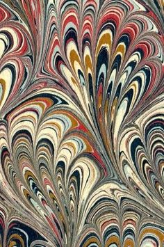 Marbled paper by British marbling master artist Ann Muir. via the artist's site (no longer active)