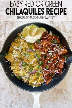Chilaquiles are a classic Mexican recipe made with fried tortillas and a savory red or green sauce! Simple ingredients make this dish easy to cook at home for a great breakfast or dinner! Mexican Dishes, Mexican Food Recipes, Ethnic Recipes, Mexican Cooking, Sauce Recipes, Cooking Recipes, Meat Recipes, Yummy Recipes, Frases