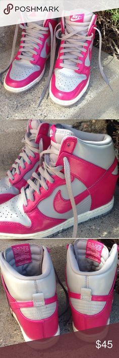 Nike High Top Wedge Sneakers Nike, pink and gray wedge high tops. Size 8.5. Pre-loved, minimal wear. Overall great condition. Nike Shoes Sneakers
