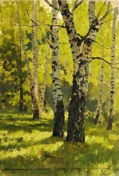 View BIRCH GROVE By Isaak Levitan; oil on canvas; Access more artwork lots and estimated & realized auction prices on MutualArt. Russian Painting, Russian Art, Figure Painting, Russian Landscape, Landscape Art, Landscape Paintings, Classic Paintings, Beautiful Paintings, Photo D Art