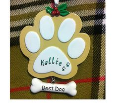 Personalized Christmas Ornament for Dog Tan Paw with Best Dog Bone Hanging Charm