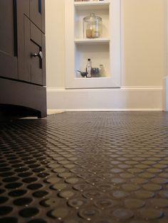 Black penny round tile- would this work in shower floor? Dark Brown Bathroom, White Bathroom Tiles, Bathroom Floor Tiles, Shower Floor, Small Bathroom, Bathrooms, Bathroom Ideas, Basement Bathroom, Bathroom Inspiration