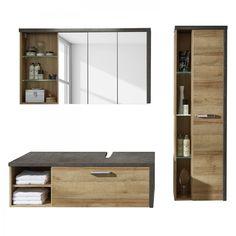 Hängend-Waschtischunterschrank / Holz / modern / mit Lichtspiegel ... | {Waschtischunterschrank hängend 98}
