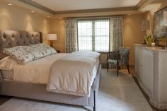 master bedroom, guest bedroom, lighting, bed, dresser, nightstand, chair, drapery, neutral tones, bedding,