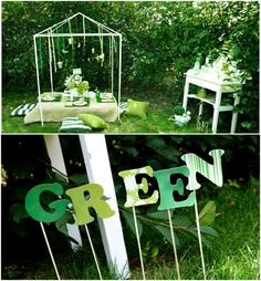 A Green, Grown - Up Girls Garden Party for under $100, I especially love the DIY Drinks Bar and the relaxed seating.