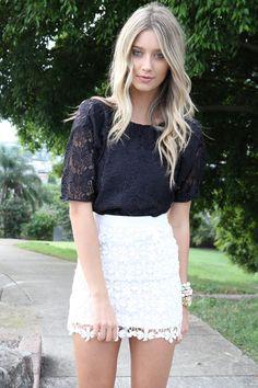 black lace top + white lace bottom