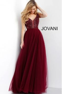Jovani 67203 Floor length burgundy tulle prom ballgown features sleeveless beaded bodice with plunging neckline with mesh insert and v back with zipper. Prom Dresses Jovani, Ball Gowns Prom, Tulle Prom Dress, Ball Dresses, Evening Dresses, Prom Ballgown, Gown Dress, Wedding Dress, Long Formal Gowns