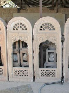 Carved Stone Jali Window From Rajasthan