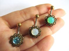 Belly Button Ring Glass Opal Flower Belly Button by AzeetaDesigns