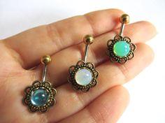 Glass Opal Flower Rose Daisy Belly Button Ring by Azeetadesigns