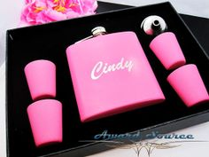 7 Bridesmaid Gift flask Set, Pink Wedding Flask Gift Set, Wedding Gift for Bridesmaids, Personalized Bridesmaid Gift Sister In Law Gifts, Maid Of Honour Gifts, Maid Of Honor, Bride Gifts, Wedding Gifts, Wedding Attendant Gifts, Mother Of The Groom Gifts, Matte Pink, Personalized Bridesmaid Gifts