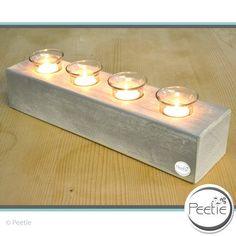Teelichthalter - Shabby 4er Teelichthalter grau Holz Kerzenhalter - ein Designerstück von Peetie-Holzdesign bei DaWanda