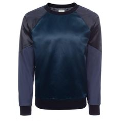 Paul Smith Men's Sweatshirts | Petrol Blue Cotton-Blend Satin Front Sweatshirt