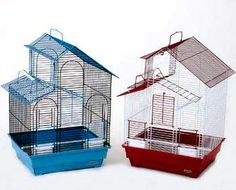 """Parakeet Bird Cage Black With Blue Or Green 16x14x24 2pk, Prevue Pet Products -  Parakeet Bird CageTwo tone house Top roof cage features front drop down door, top side access playpen door, two front outside access feed/water cups, 2 perches, bottom grille and pull out 1"""" deep drawer for easy cleaning. Case pack of 2 each in designer colors. 16"""" x 14"""" x 24""""H, 1/2"""" wire spacing"""