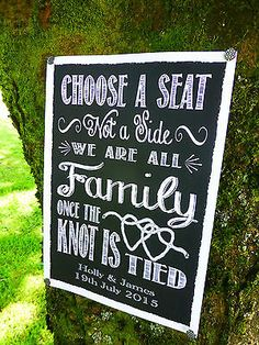 PERSONALISED chalk style wedding CHOOSE SEAT NOT SIDE ALL FAMILY KNOT TIED sign in Other Wedding Supplies | eBay