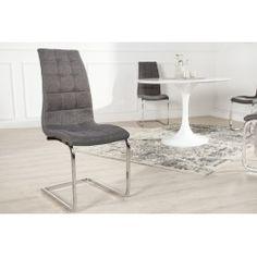 Lot de 4 chaises design en polyester coloris gris