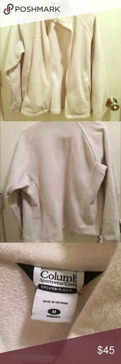 White Columbia fleece White in color. Light weight. Fleece material. Size medium.  good condition . White is too hard for me to maintain Columbia Jackets & Coats