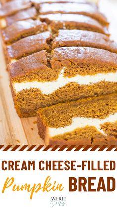 Pumpkin Cream Cheese Bread, Best Pumpkin Bread Recipe, Pumpkin Recipes, Fall Desserts, Just Desserts, Delicious Desserts, Dessert Recipes, Brunch, Dessert Bread