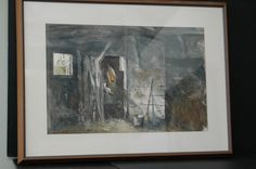 """Framed watercolor depicting a barn scene, signed lower left, Jack Flynn, AWS, framed 29 """"x Auction, Barn, Scene, Watercolor, Frame, Pen And Wash, Picture Frame, Converted Barn, Watercolor Painting"""