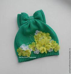Купить Хлопковая шапочка для девочки - зеленый, однотонный, летние аксессуары, головные уборы для детей