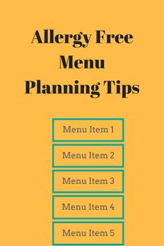 Learn how to succeed at living allergy free with some allergy free menu planning tips. Allergy Free Recipes For Kids, Menu Items, Menu Planning, Kids Meals, Free Food, Allergies, Learning, Cooking, Healthy