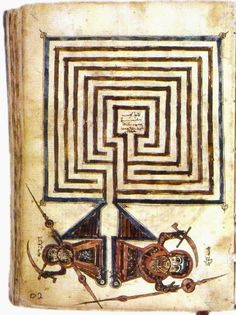 An ancient Syriac manuscript showing the Jericho labyrinth (Library of Beirut, Lebanon).