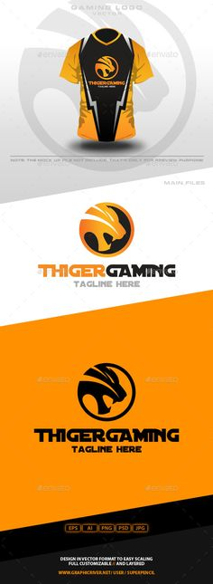 Thiger Gaming Logo — Photoshop PSD #tiger logo #bolt • Available here → https://graphicriver.net/item/thiger-gaming-logo/10526300?ref=pxcr