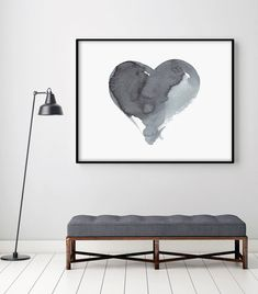Watercolor Painting Art Abstract Painting Original Art Poster Grey Giclee Canvas Minimal Ink Black Heart Monochromatic Geometric PRINTABLE