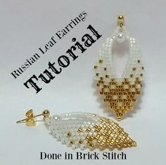 Russian Leaf Earrings, TUTORIAL, done in brick stitch - Care - Skin care , beauty ideas and skin care tips Beading Tutorials, Beading Patterns, Beaded Necklace Patterns, Bracelet Patterns, Original Design, Earring Tutorial, Leaf Earrings, Amethyst Earrings, Hoop Earrings