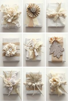 white gift wrap ideas @Adair Middleton This reminds me of something you would really like!