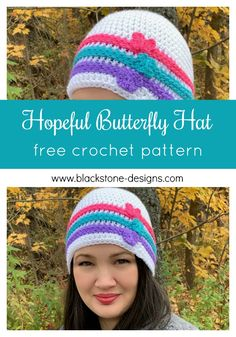 Hopeful Butterfly Hat crochet pattern from Blackstone Designs designed for donation to a cancer center.   #crochet #crochethat #butterfly #hope #cancercenter #chemocenter #chemocap