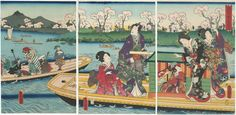 Flowers and Birds: Genji and His Companions Sharing a Boat by Utagawa Kunisada