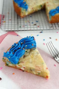 "Wait a sec. Just wait. Let me get this straight: you used a CAKE mix to make a COOKIE dough into a CAKE batter-flavored COOKIE CAKE that's in the shape of a PIE?? PINCEPTION. And also, OVERKILLLLLLL.      //      ""Funfetti cake batter white chocolate cookie cake"""