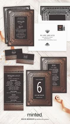 Gorgeous Art Deco inspired foil wedding stationery