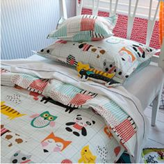 Kids Bedroom Linen cot quilt cushion 2 pc set lachlan red baby boys girls nursery