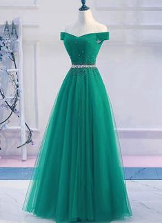 Green Tulle Off Shoulder Long A Line Prom Dress, Sequined Ev.- Green Tulle Off Shoulder Long A Line Prom Dress, Sequined Evening Dress from Sweetheart Dress - Junior Party Dresses, Elegant Prom Dresses, A Line Prom Dresses, Ball Dresses, Dance Dresses, Pretty Dresses, Homecoming Dresses, Beautiful Dresses, Ball Gowns