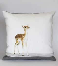 Baby Deer Pillow 12 inch sqaure Gray Wool by SharonMontrose