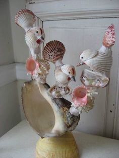 AMAZING Vintage SEA SHELL Art Sculpture BIRDS & NESTS All Created with SHELLS