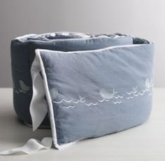 Embroidered Whale Crib Bumper - I need to learn how to do this!
