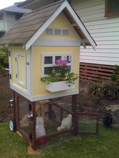 """Chicken coop....for my """"one of these days I'm going to live in a little yellow house with a big front porch, and I'll have chickens"""" dream."""