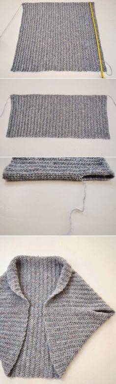 padrão de tricô livre para fácil Retângulo Shrug - basta dobrar e costura - e os padrões de encolher tricô mais fácil