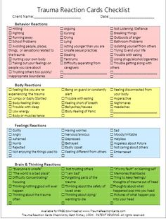 I have used this checklist in a different ways. I have also bought the Trauma Reaction Cards, which is quite helpful for the younger clients. Mental Health Counseling, Mental And Emotional Health, Social Emotional Learning, Therapy Worksheets, Therapy Activities, Trauma Therapy, Therapy Tools, Adverse Childhood Experiences, Classroom Behavior Management