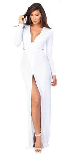 Emprada -White Twist Slit Maxi Dress